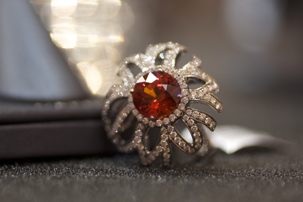 Yael Designs Spessartite garnet and diamond cocktail ring