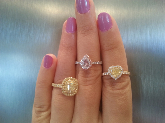 Yellow and pink diamond rings - Image by rubyshoes