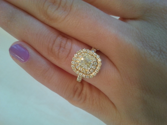Yellow diamond halo ring - Image by rubyshoes