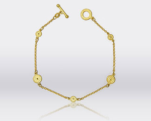 Yellow Gold Circular Diamond Bracelet