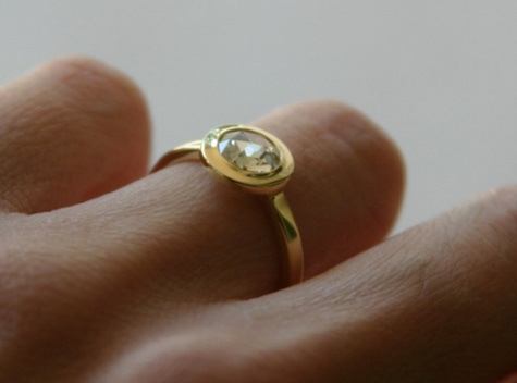 Rose Cut Diamond Ring in Yellow Gold Bezel Setting