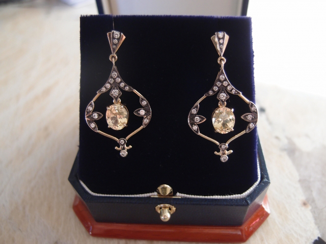 Antique-inspired sapphire and diamond earrings - Image by canuk-gal