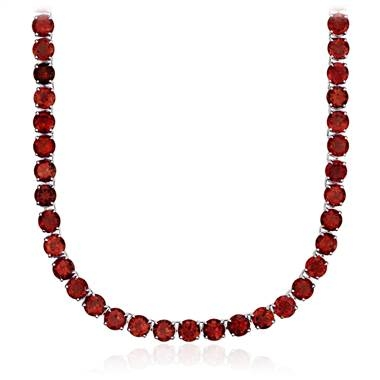 This beautiful necklace will put you on the path to looking great and feeling great everyday. Round garnet eternity necklace set in sterling silver at Blue Nile