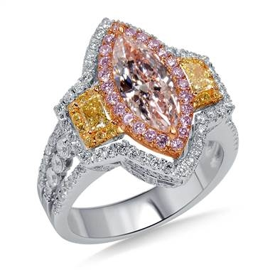 Fancy multicolored diamond halo ring set in 18K three tone gold at B2C Jewels