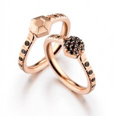 Alter Ego ring with black diamonds by Zaiken Jewelry