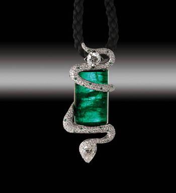 Zannetti Emerald Diamond Snake Pendant