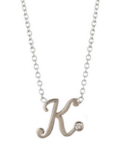 Diamond script letter necklace by Zoe Chicco