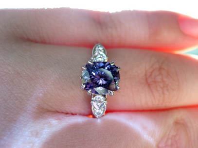 Double Claw Prong Spinel  Engagement Ring
