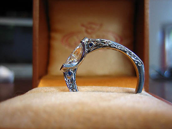 Diamond  Engagement Ring Engraved Mounting