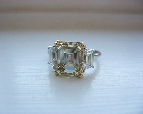 Wedding Rings With Baguettes 97 Vintage Asscher cut engagement rings