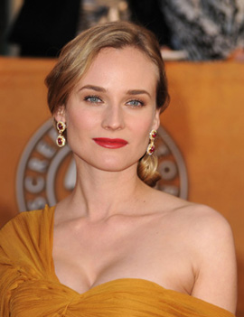 Diane Kruger Harry Winston ruby earrings