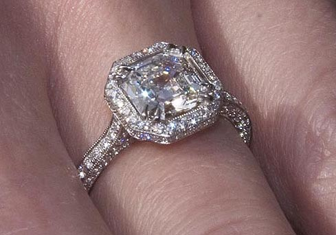 Engagement Rings on Halo Engagement Ring With 1 52ct Square Emerald Cut Center Diamond