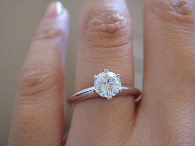 Tiffany Six Prong Diamond  Engagement Ring