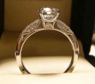 Diamond Millgrain Engagement Ring