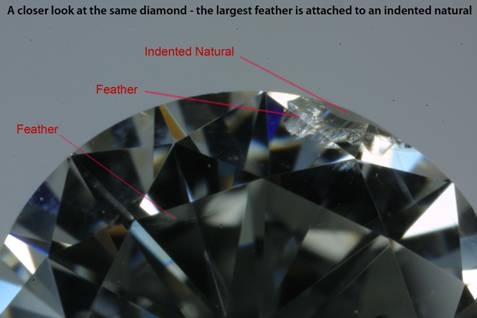 Diamond- closer look - the largest feather is attached to an indented natural