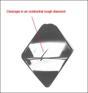 diamond cleavage in an octahedral diamond