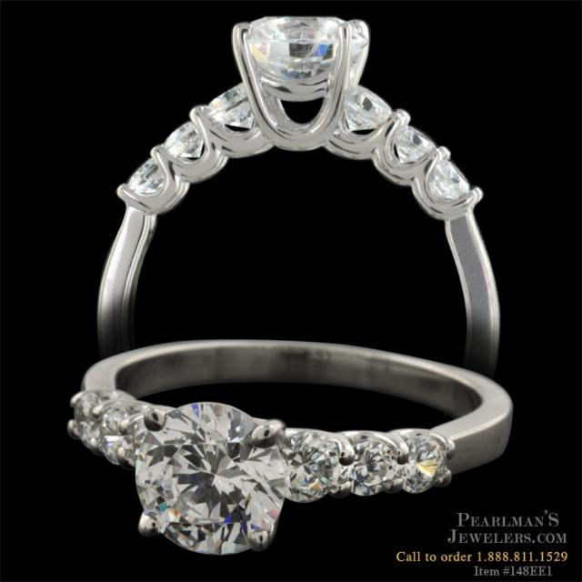 Seven Stone Platinum and Diamond Engagement Ring
