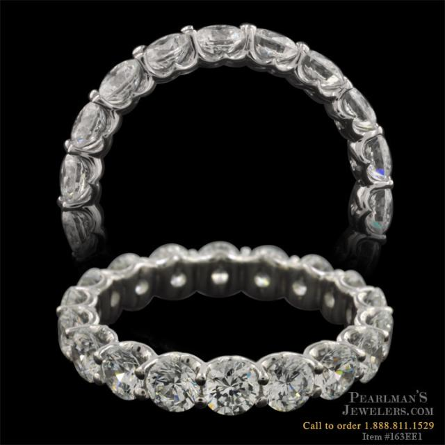 Stunning Platinum and Diamond Shared Prong Eternity Band