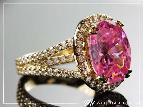 pink gemstone rings. Custom Gold and Pink Gemstone