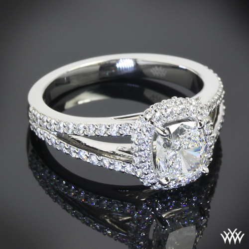 Custom Platinum Halo Diamond Engagement Ring