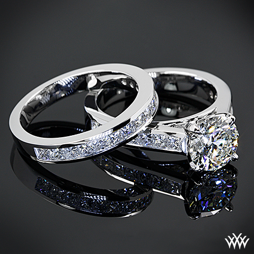 Custom Channel-Set Diamond Engagement Ring and Diamond Wedding Ring
