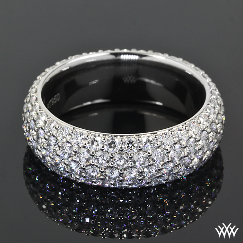 Full Bands: Custom 4 Row Rounded Pave Diamond Wedding Band