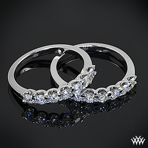 Custom Shared-Prong Diamond Wedding Rings