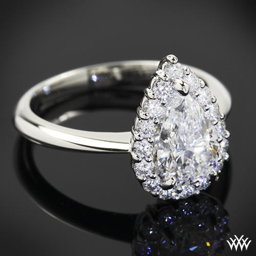 Custom Pear Halo Solitaire Engagement Ring