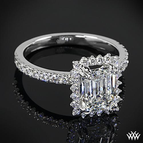 Halo Ring Emerald Cut Black Diamond Halo Ring