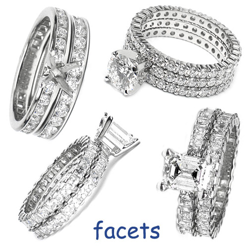 The Facets Duo & Trio Flush-Fit Engagement Ring Set
