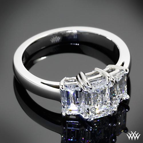 Emerald Cut 3 Stone Diamond Engagement Ring