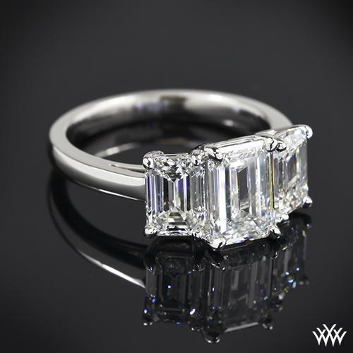 Custom Emerald 3 Stone Diamond Engagement Ring