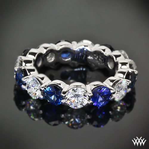 Full Eternity Diamond and Sapphire Wedding Band