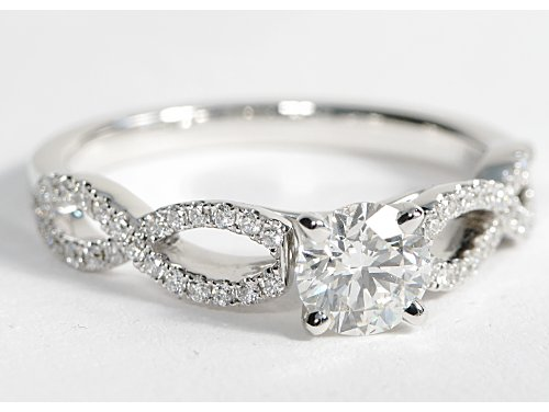 Infinity Twist Micropave Diamond Engagement Ring 14k White Gold