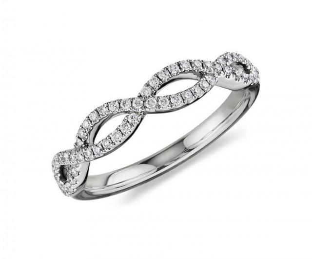 infinity twist micropave wedding ring in 14k white