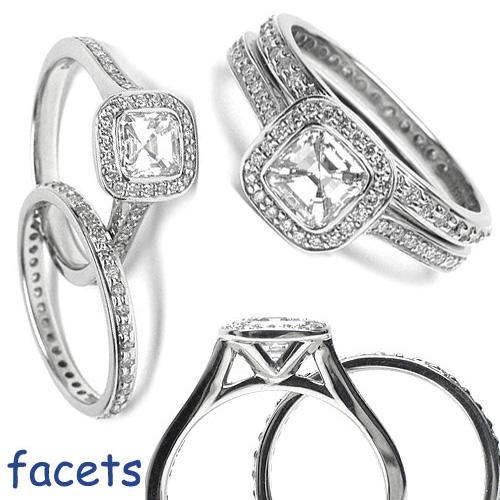 Micro-Pave Set Diamond Flush-Fit Engagement Ring Set