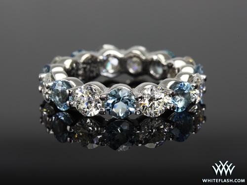 Eternity Diamond And Aquamarine Wedding Band Pricescope