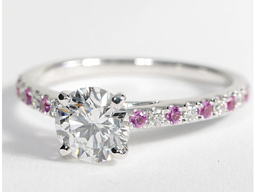 pave pink sapphire and cathedral engagement