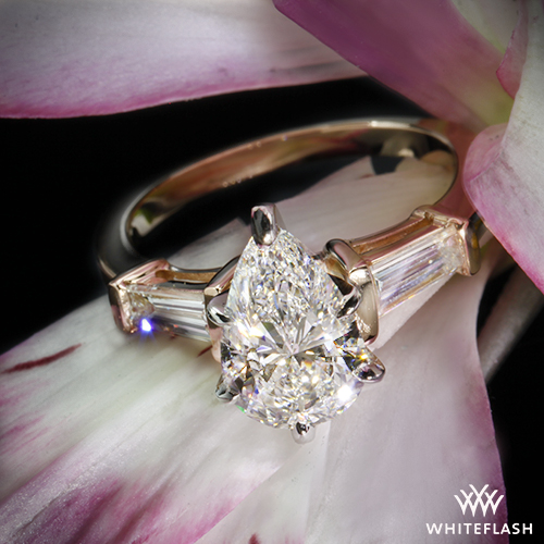 Pear And Baguette Three Stone Engagement Ring Pricescope