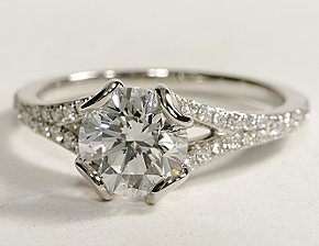 Sweetheart Gallery Pave Diamond Engagement Ring in Platinum