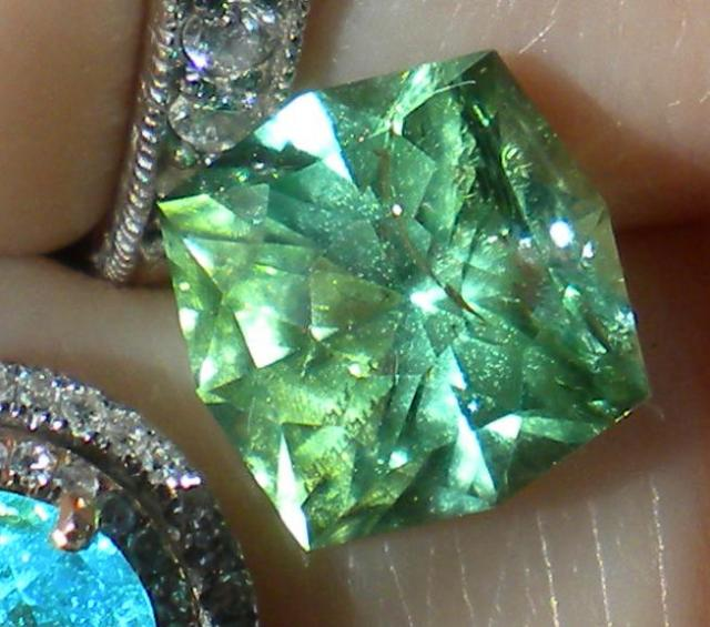 4.5 carat Afghan mint tourmaline indirect sun