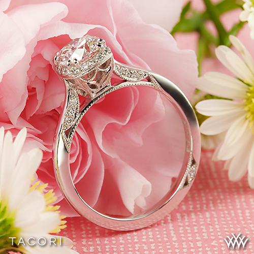 Bathroom ideas pink - Tacori Pink Gold Engagement Rings Tacori Dantela Crown Solitaire