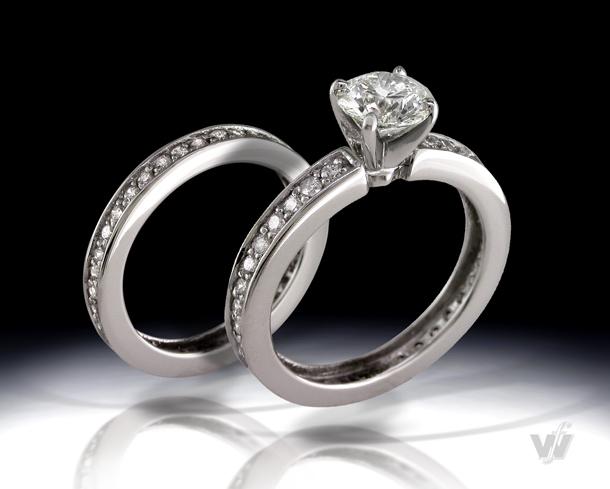 Pave Wedding Set in Platinum