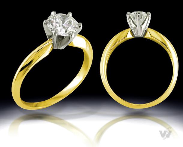 "6-Prong ""Tiffany"" Style - 18k Yellow Gold"