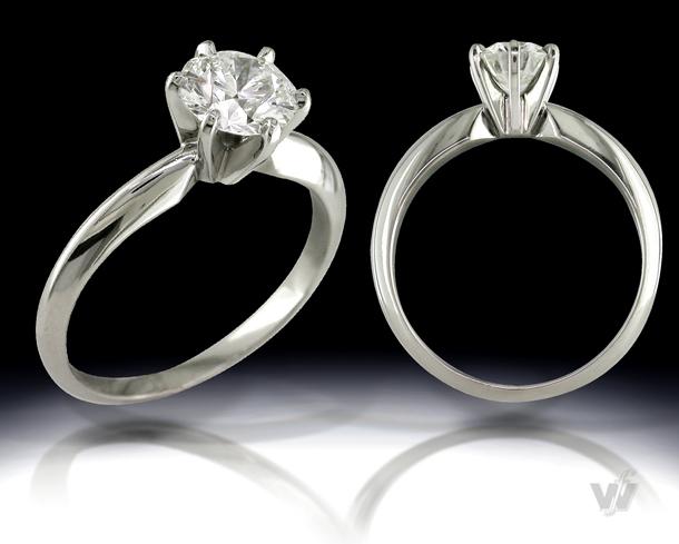 """6-Prong """"Tiffany"""" Style - 18k White Gold"""