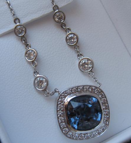 Blue spinel w/ Diamonds Custom WF Necklace