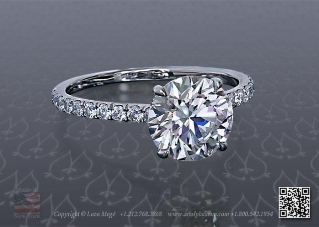 Round Diamond Pave Engagement Ring R1278