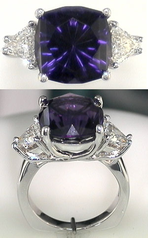 Amethyst three stone ring in white gold
