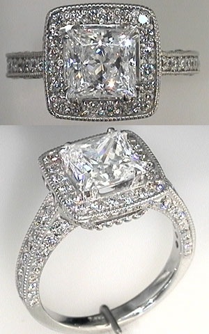 Halo Princess with pave on sides