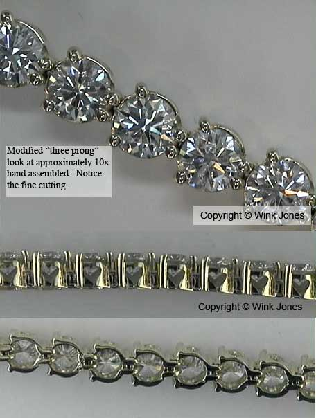 Tennis bracelet with Modified Three Prong look